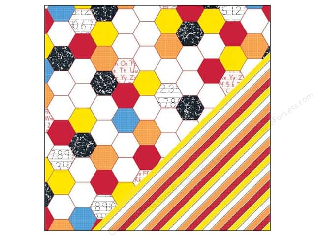 "Bazzill Paper 12""x 12"" School Days Hexagon/Stripe 25pc"