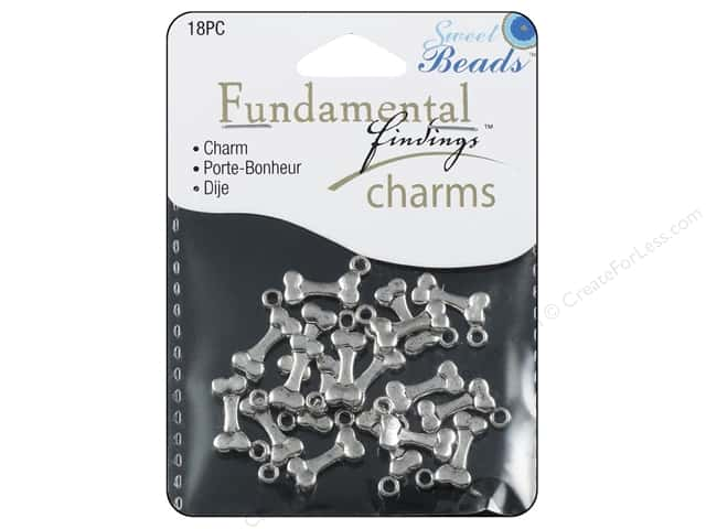 Sweet Beads Fundamental Finding Charms 18 pc. Dogbone Silver