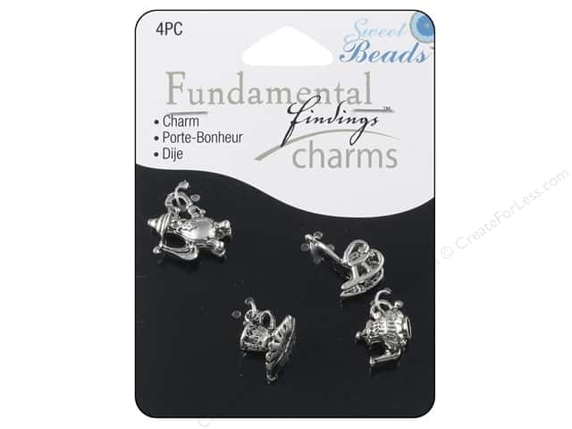 Sweet Beads Fundamental Finding Charms 4 pc. Tea Party Silver