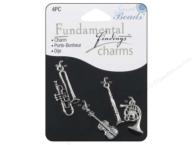 Sweet Beads Fundamental Finding Charms 4 pc. Music Silver