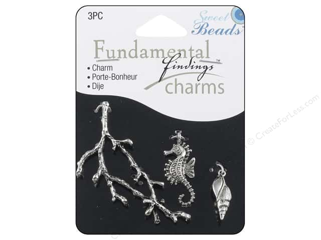 Sweet Beads Fundamental Finding Charms 3 pc. Ocean Silver