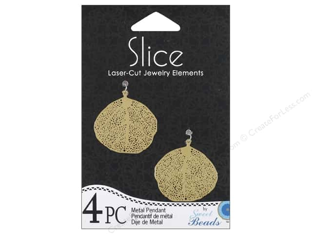 Sweet Beads Slice Metal Pendant Leaf 28 mm 4 pc. Gold