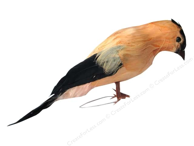Accent Design Artificial Bird 6 in. Warbler Peach/Black Feather 1 pc.