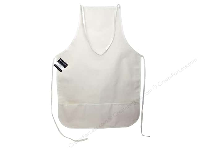 "Mark Richards Blank Canvas Apron with Pocket 19""x 28"" Natural"