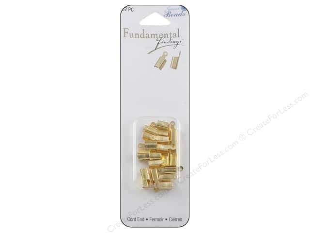 Sweet Beads Fundamental Finding Cord End Foldover Gold 32pc