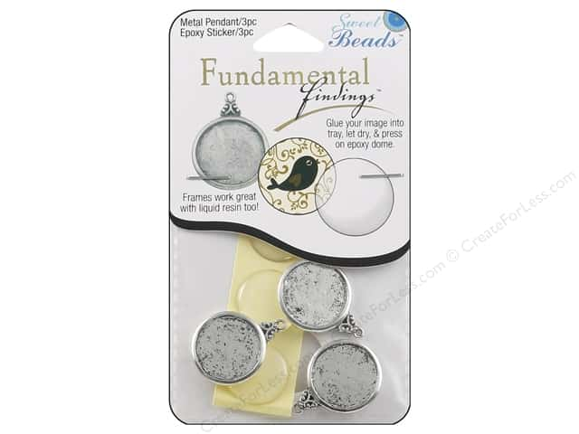 Sweet Beads Fundamental Finding Pendant Frame 3 pc. Round Antique Silver