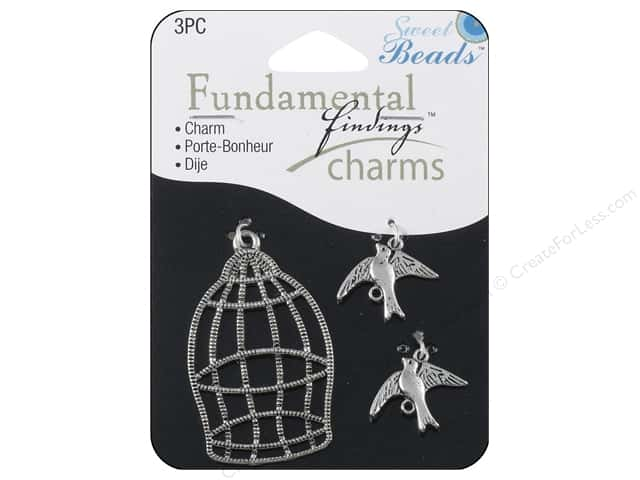 Sweet Beads Fundamental Finding Charms 3 pc. Birds & Cage Silver
