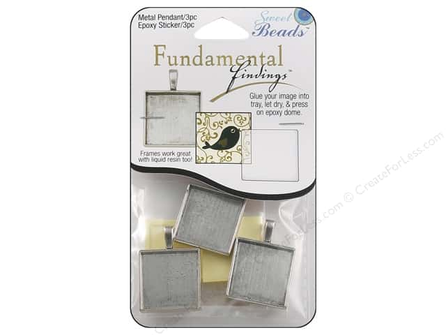 Sweet Beads Fundamental Finding Pendant Frame 3 pc. Square Antique Silver