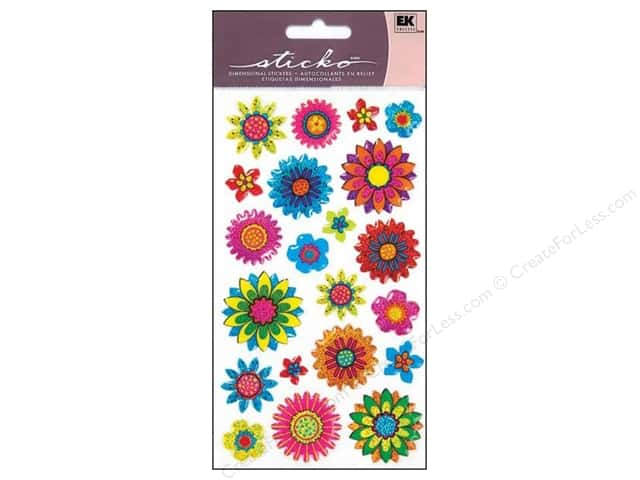 EK Sticko Stickers Sparkler Summer Floral Mix