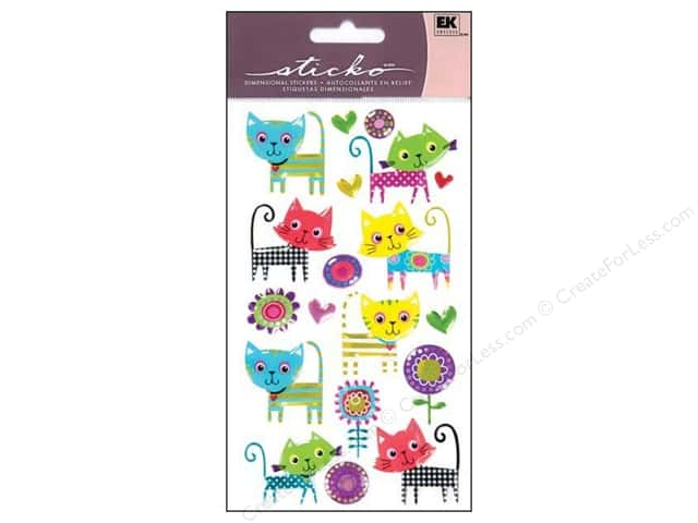 EK Sticko Stickers Sparkler Patterned Kitties