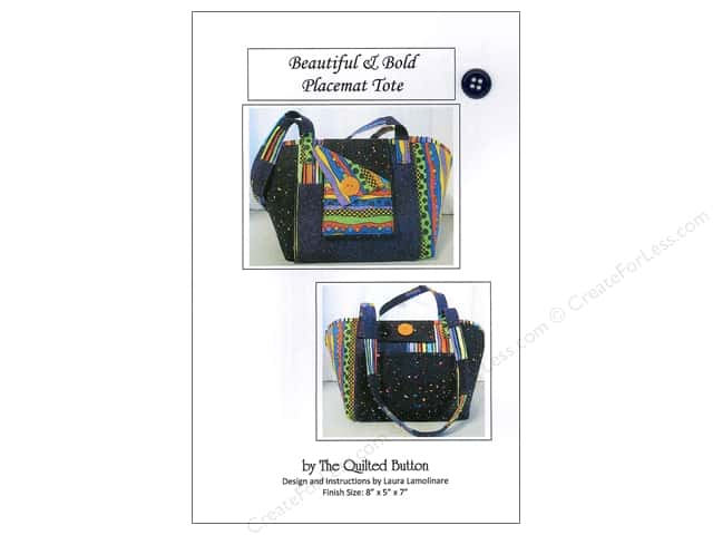 Quilted Button Beautiful & Bold Placemat Tote Pattern