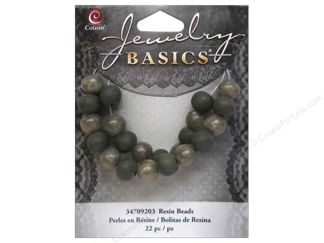 Cousin Resin Beads 5/16 in. Round Green 22 pc.