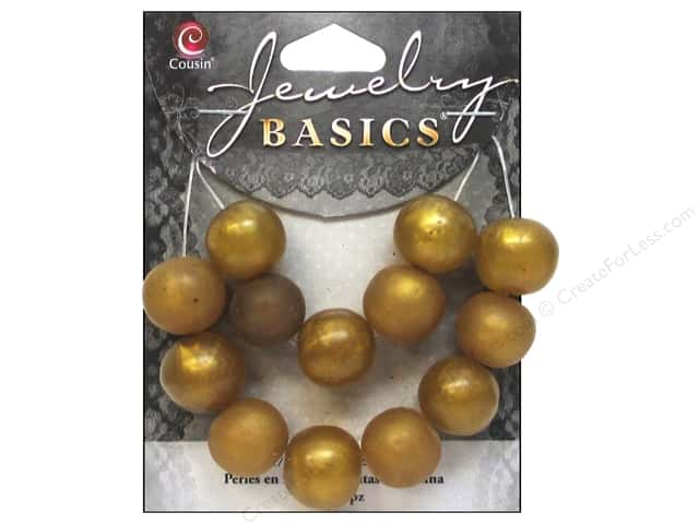Cousin Resin Beads 9/16 in. Round Gold 13 pc.