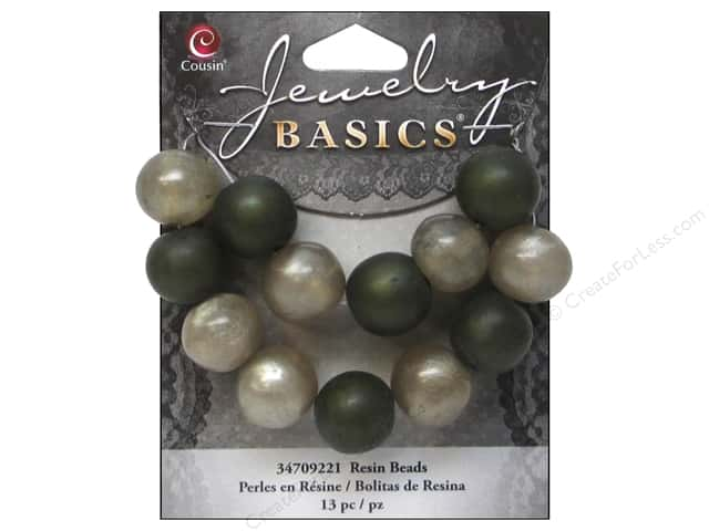 Cousin Resin Beads 9/16 in. Round Green 13 pc.