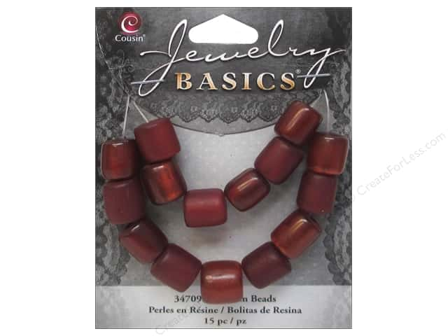 Cousin Resin Beads 3/8 x 7/16 in. Tube Red 15 pc.