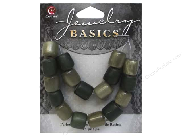 Cousin Resin Beads 3/8 x 7/16 in. Tube Green 15 pc.