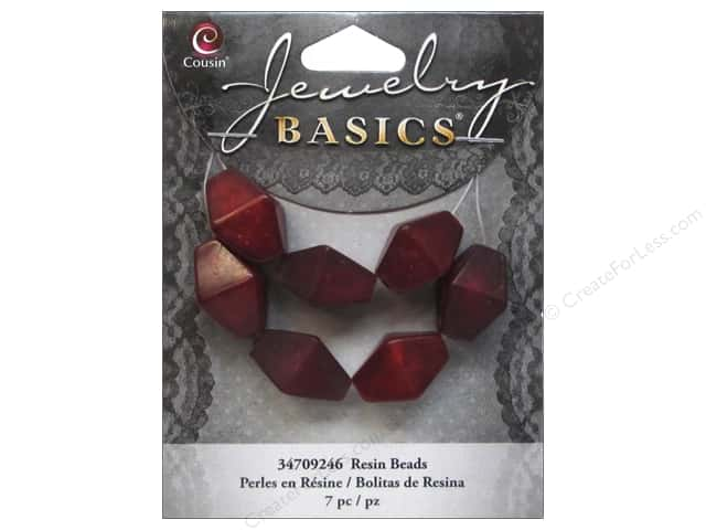 Cousin Resin Beads 5/8 in. Bicone Red 7 pc.
