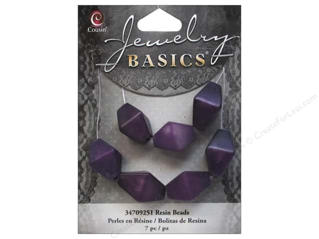 Cousin Resin Beads 5/8 in. Bicone Purple 7 pc.