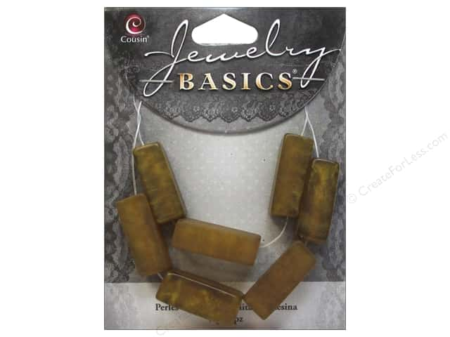 Cousin Resin Beads 3/8 x 1/2 in. Rectangle Gold 7 pc.