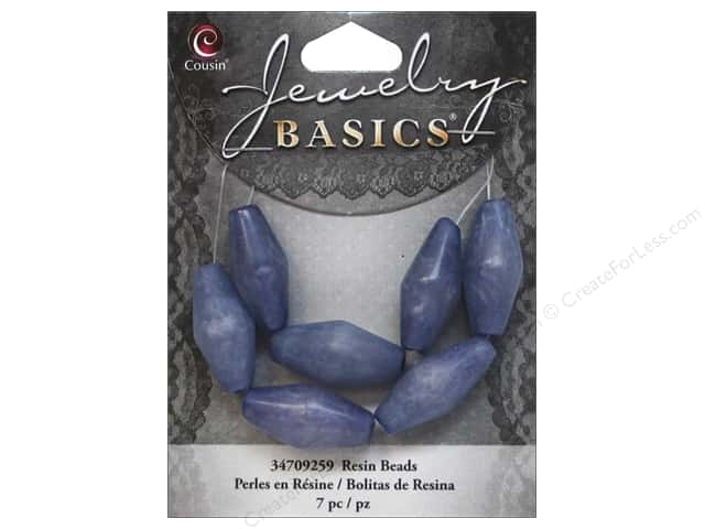 Cousin Resin Beads 7/8 in. Bicone Blue 7 pc.