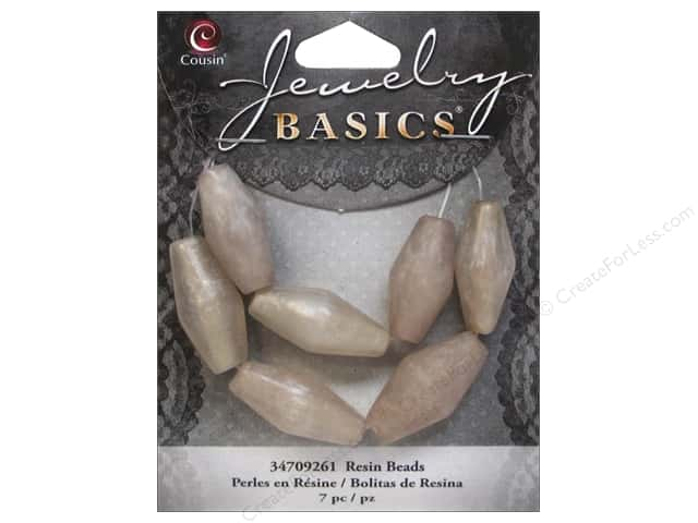 Cousin Resin Beads 7/8 in. Bicone Silver 7 pc.