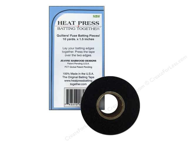 "Heat Press Batting Together Seam Tape 1.5""x 10yd Black"