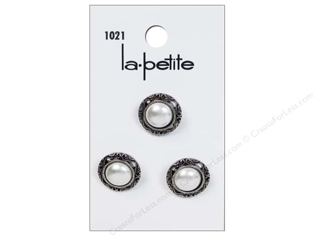 LaPetite Shank Buttons 5/8 in. Antique Silver/White #1021 3pc.