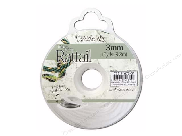Dazzle It Rattail Cord 3 mm x 10 yd. White