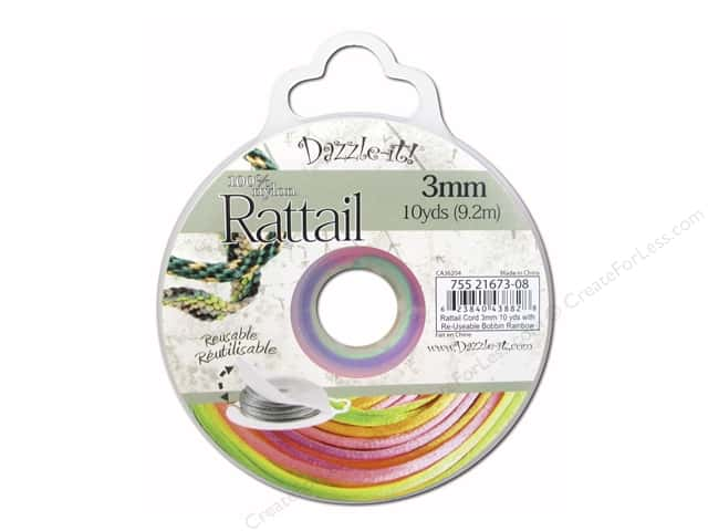 Dazzle It Rattail Cord 3 mm x 10 yd. Rainbow