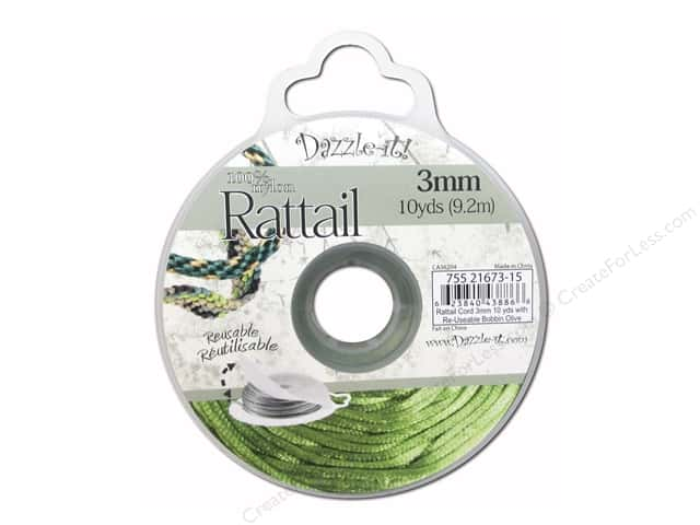 Dazzle It Rattail Cord 3 mm x 10 yd. Olive
