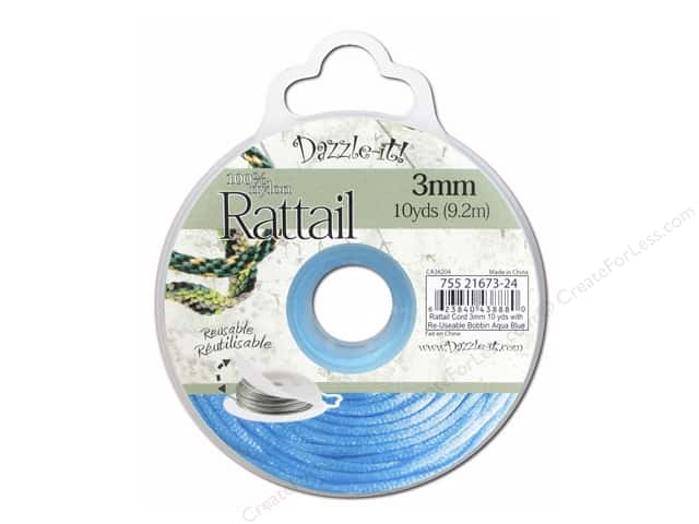 Dazzle It Rattail Cord 3 mm x 10 yd. Aqua Blue