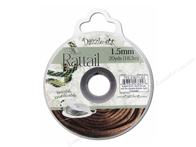 Dazzle It Rattail Cord 1.5 mm x 20 yd. Light Chocolate