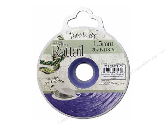 Dazzle It Rattail Cord 1.5 mm x 20 yd. Dark Purple