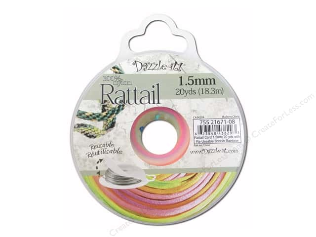 Dazzle It Rattail Cord 1.5 mm x 20 yd. Rainbow