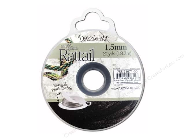 Dazzle It Rattail Cord 1.5 mm x 20 yd. Black