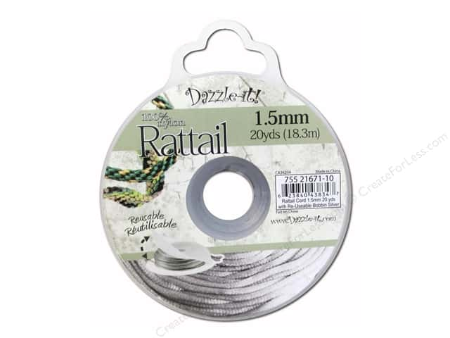 Dazzle It Rattail Cord 1.5 mm x 20 yd. Silver