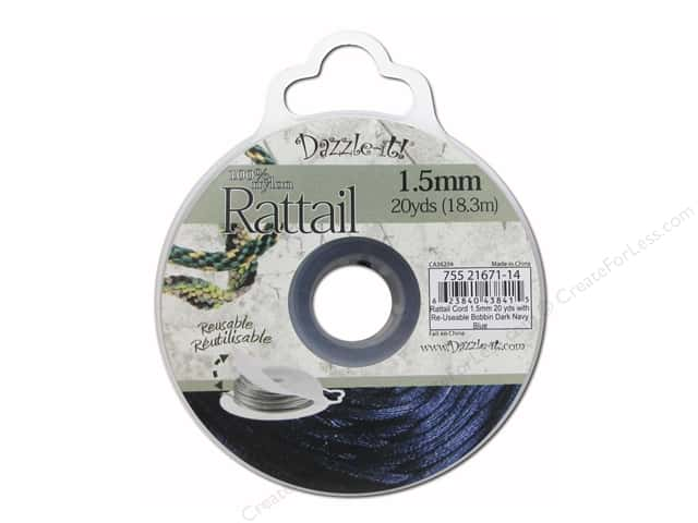 Dazzle It Rattail Cord 1.5 mm x 20 yd. Dark Navy Blue