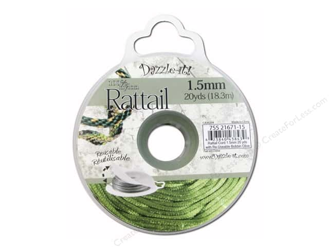 Dazzle It Rattail Cord 1.5 mm x 20 yd. Olive