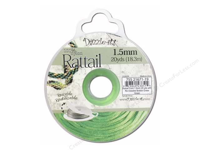 Dazzle It Rattail Cord 1.5 mm x 20 yd. Grass Green