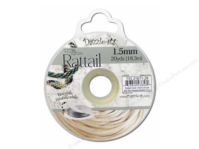 Dazzle It Rattail Cord 1.5 mm x 20 yd. Ivory