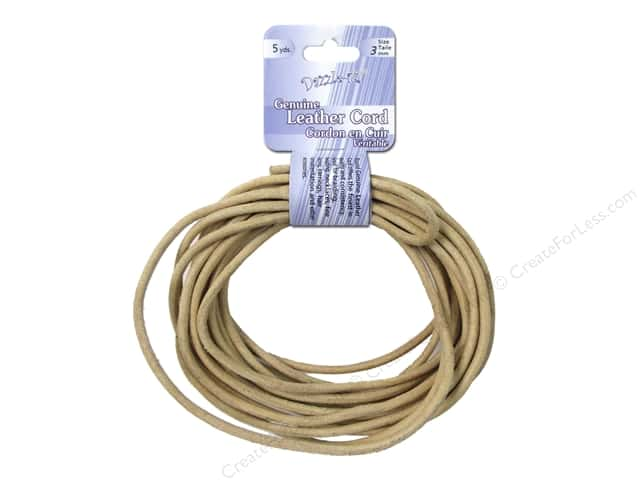 Dazzle It Leather Cord 3 mm x 5 yd. Round Natural