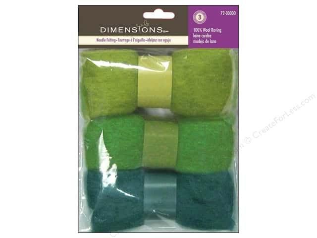Dimensions Feltworks 100% Wool Roving Trio Blue/Green