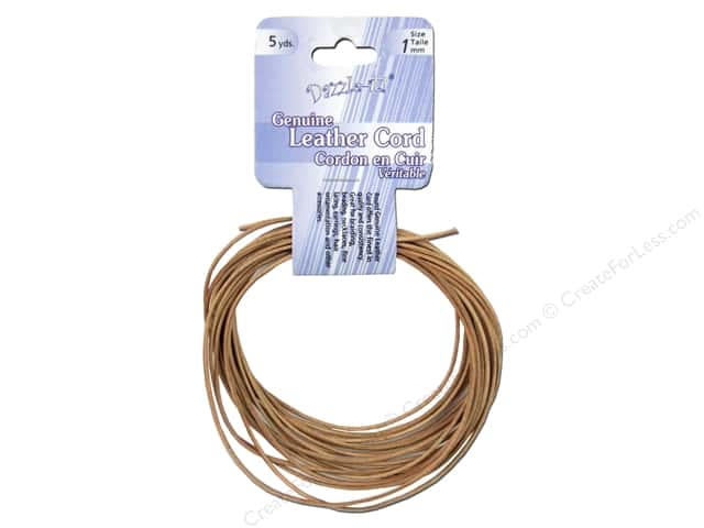 Dazzle It Leather Cord 1 mm x 5 yd. Round Natural