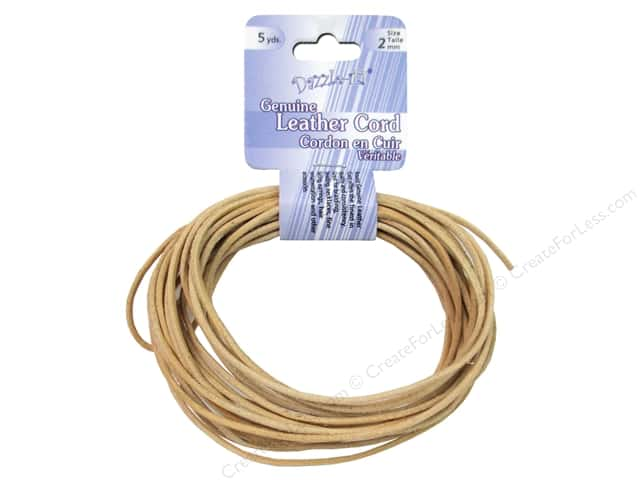 Dazzle It Leather Cord 2 mm x 5 yd. Round Natural