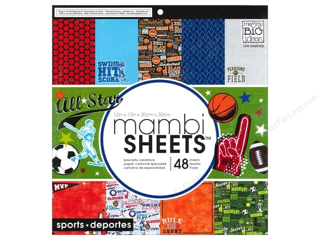 Me & My Big Ideas Sheets Cardstock Pad 12 x 12 in. All Star Sports