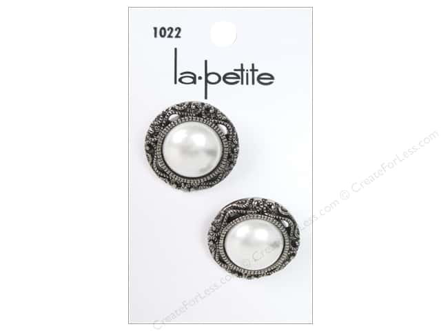 LaPetite Shank Buttons 7/8 in. Antique Silver Pearl #1022 2 pc.
