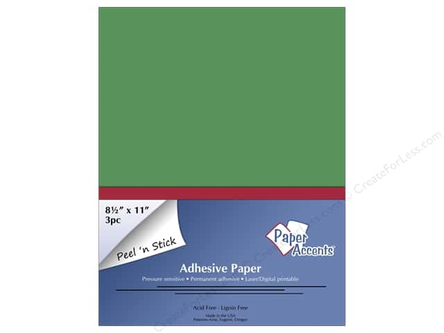 Adhesive Paper by Paper Accents 8 1/2 x 11 in. Green 3 pc.