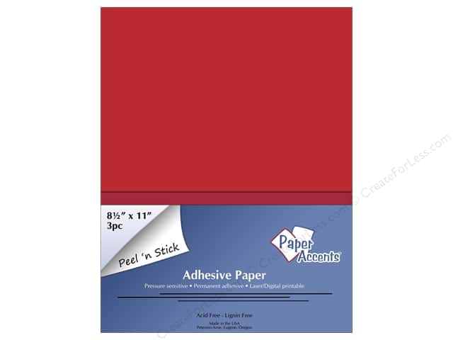 Adhesive Paper by Paper Accents 8 1/2 x 11 in. Red 3 pc.