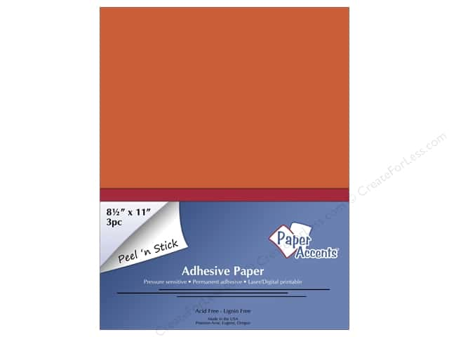 Adhesive Paper by Paper Accents 8 1/2 x 11 in. Orange 3 pc.
