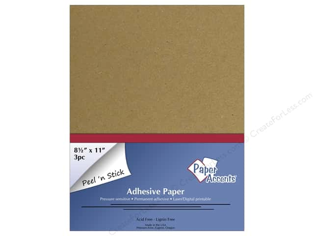 Adhesive Paper by Paper Accents 8 1/2 x 11 in. Brown Bag 3 pc.